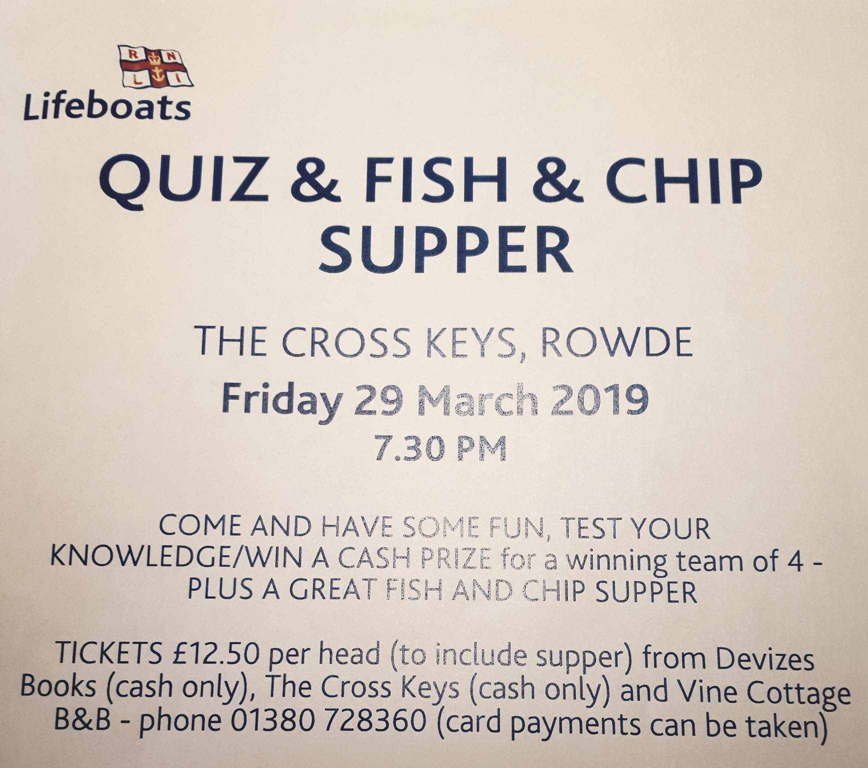 RNLI FISH AND CHIP SUPPER AND QUIZ