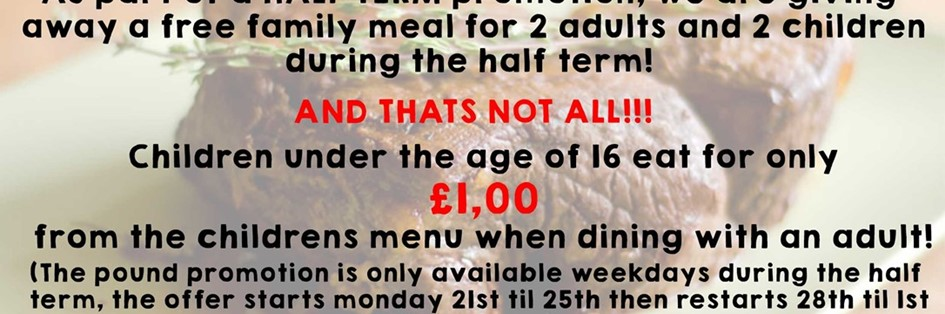 Half term deal! (find us on facebook for the competition)