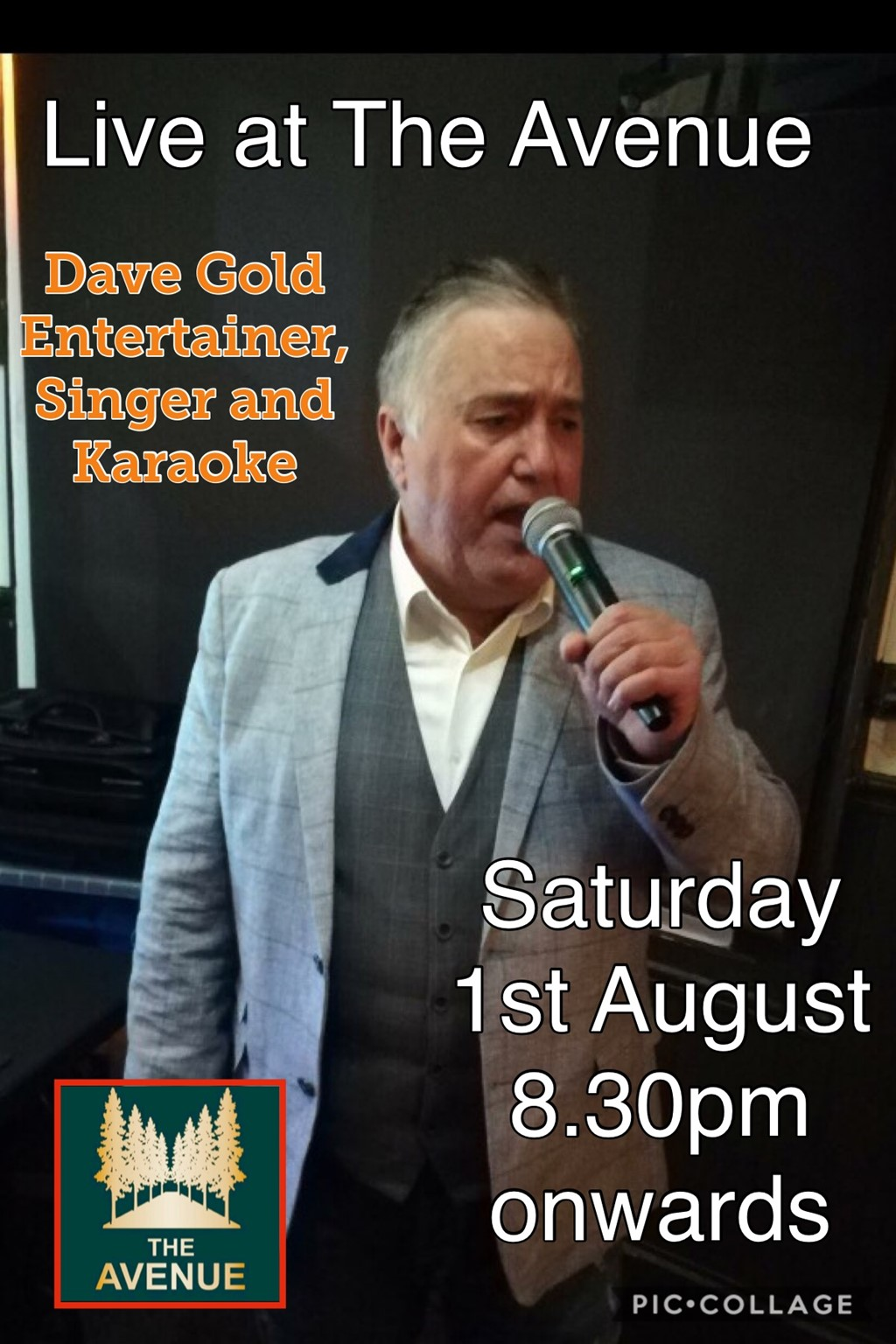 Dave Gold singing live at The Avenue