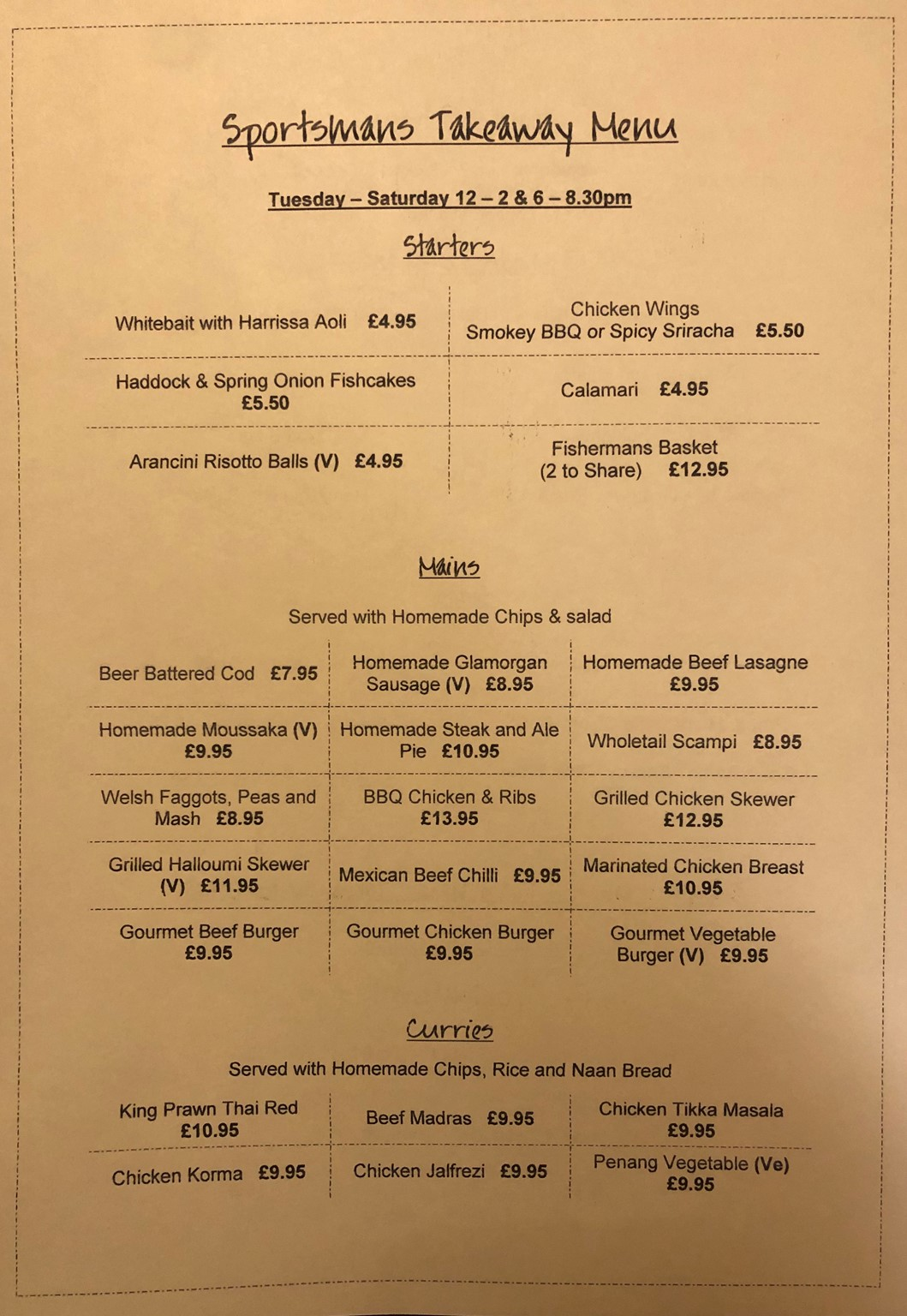 Takeaway Menu - Starters, Mains, Curries, Homemade Pizza & Specials.