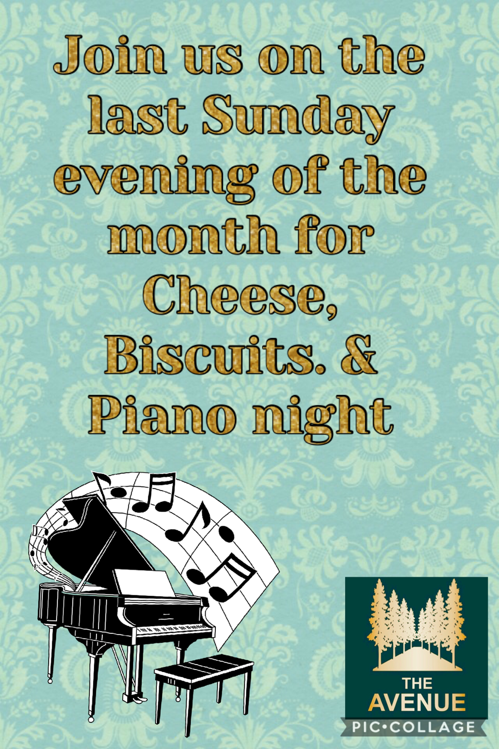 Join us for Cheese and Biscuits and some piano